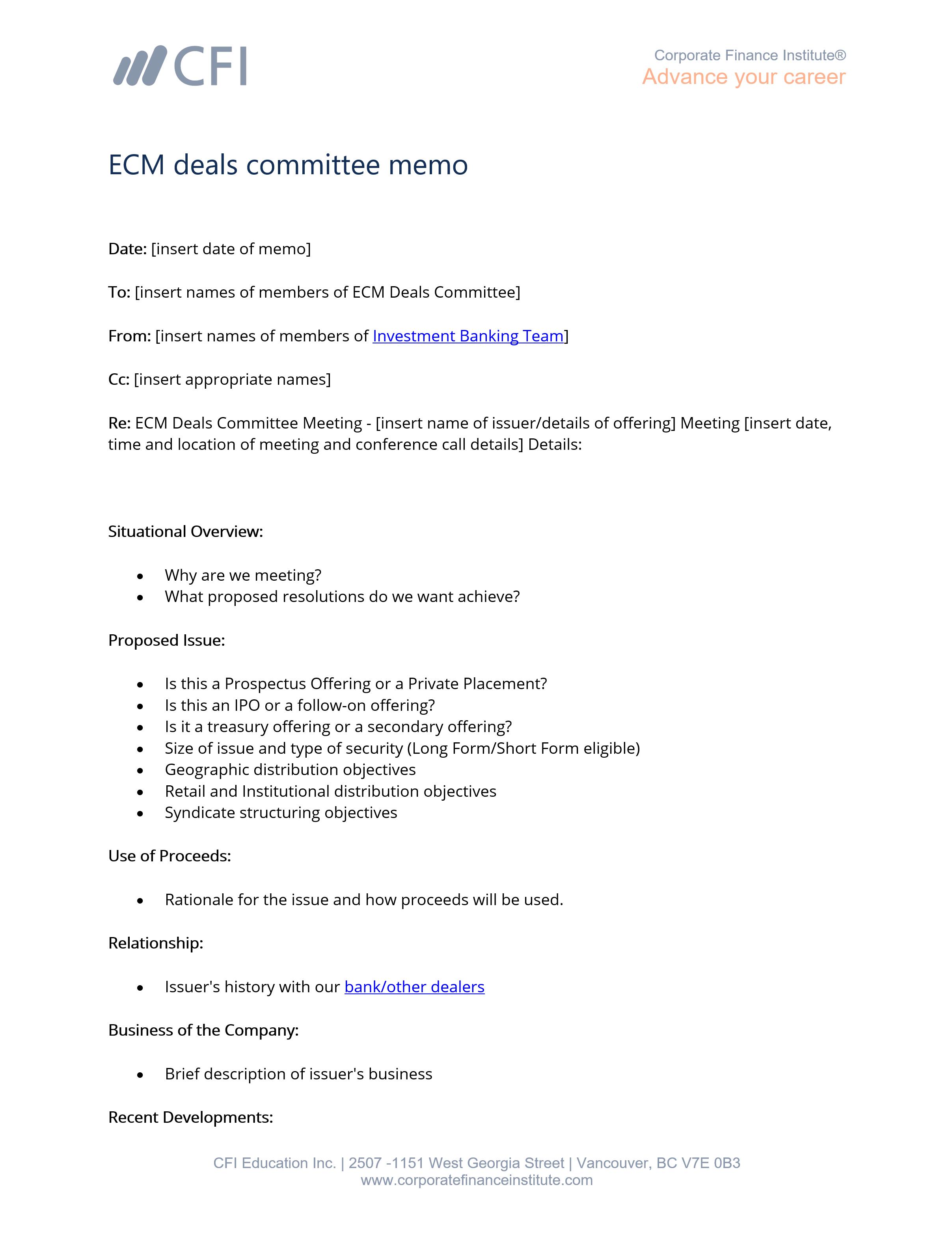 Memorandum Sample Template from corporatefinanceinstitute.com