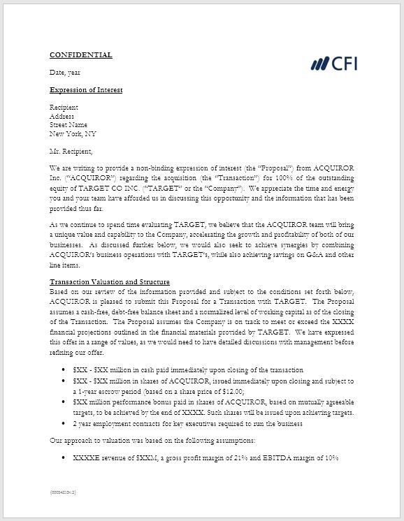 Define Letter Of Interest from corporatefinanceinstitute.com