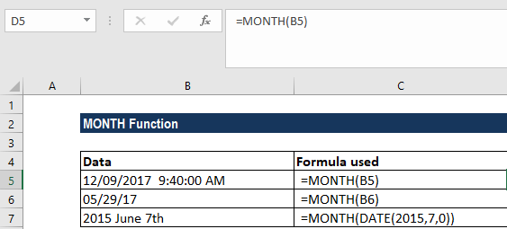 MONTH Function - Formula, Examples, How to Use MONTH