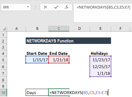 Calculate Working Days in Excel - Business Days Between two Dates